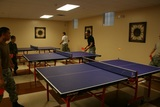 Cadets enjoying Ping Pong on the 3 tables located in the Jack Vanier Hall recreation center. There is also two movie rooms, pool tables, and weight room. This facility provides a place for cadets to relax and feel at home.